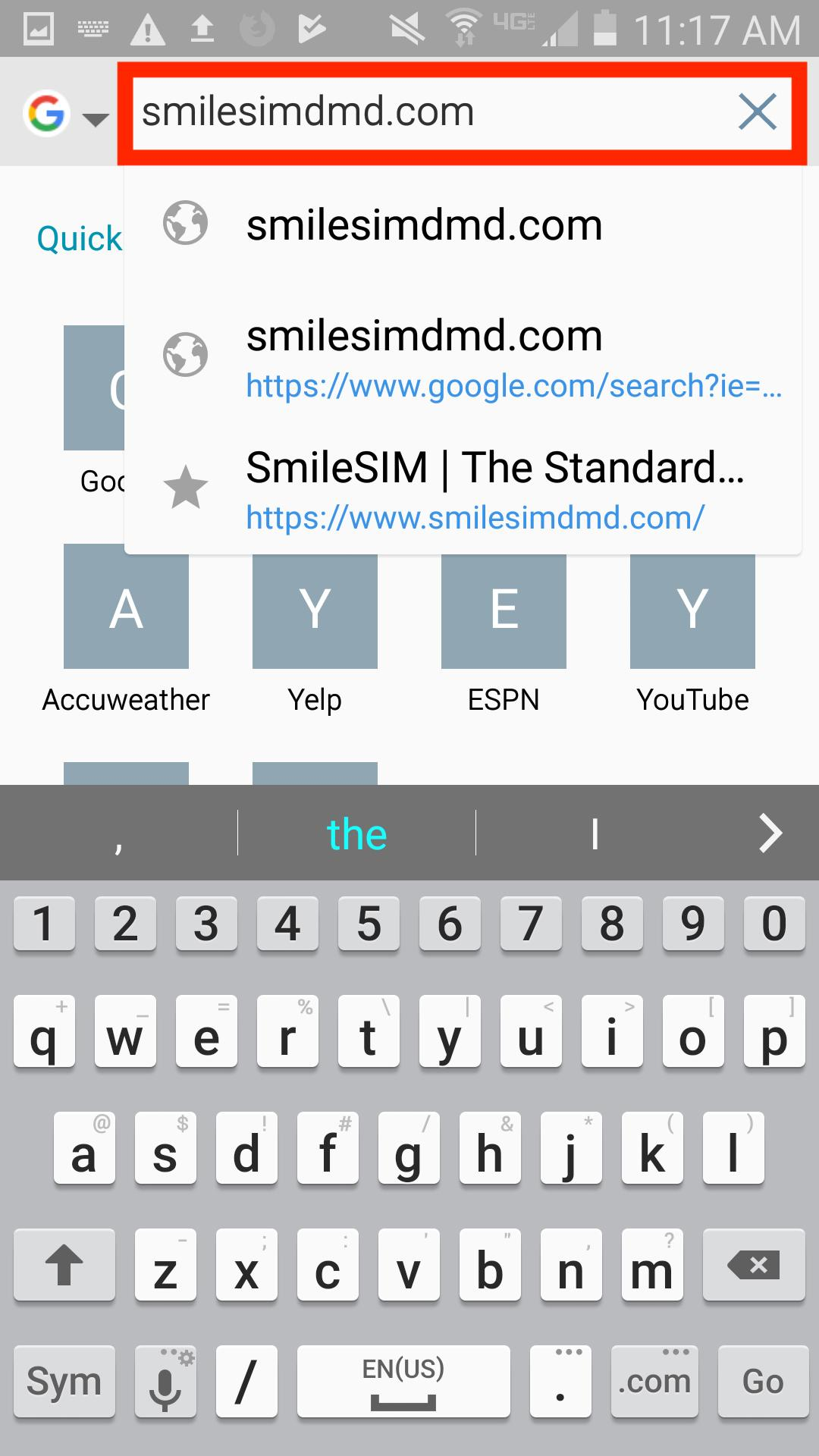 Access SmileSIM from your Android web browser (the icon looks like a globe)