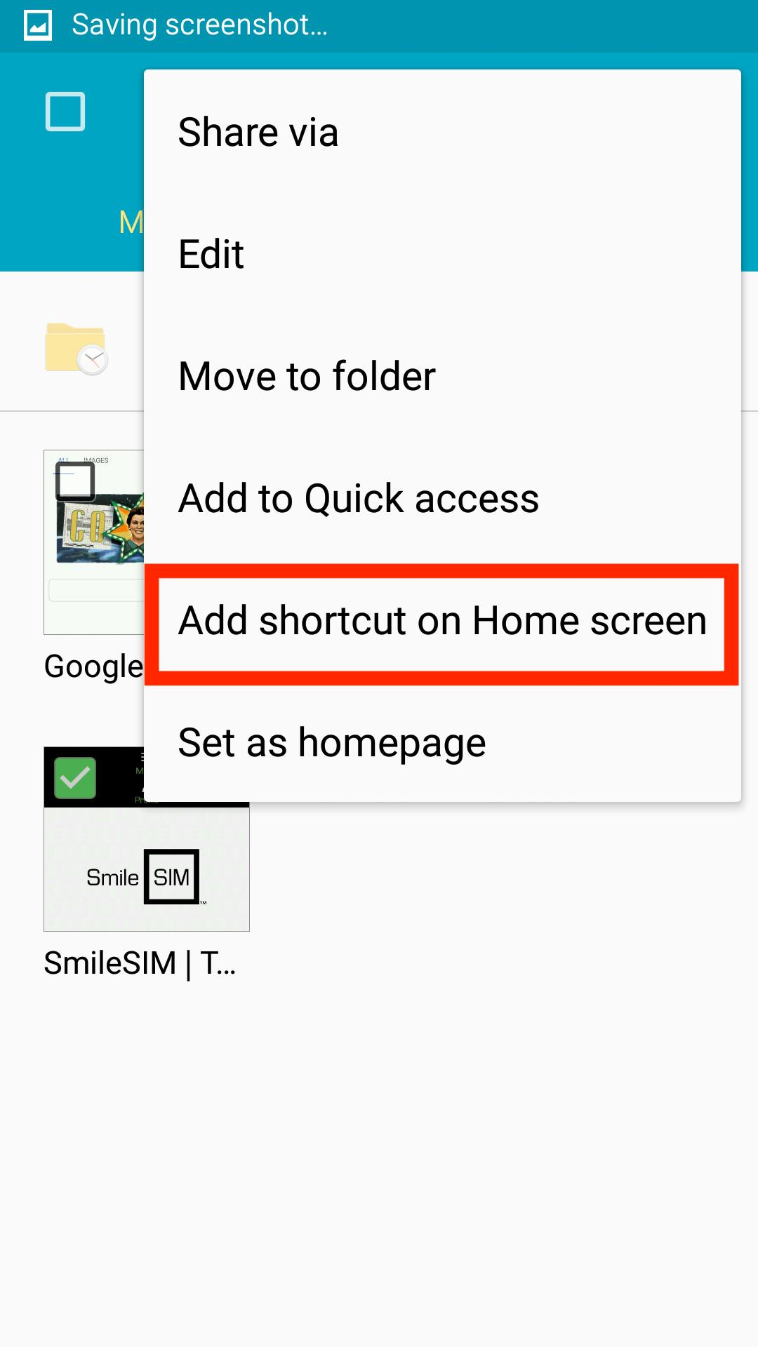 "In the drop-down menu, choose ""Add shortcut on Home screen"""