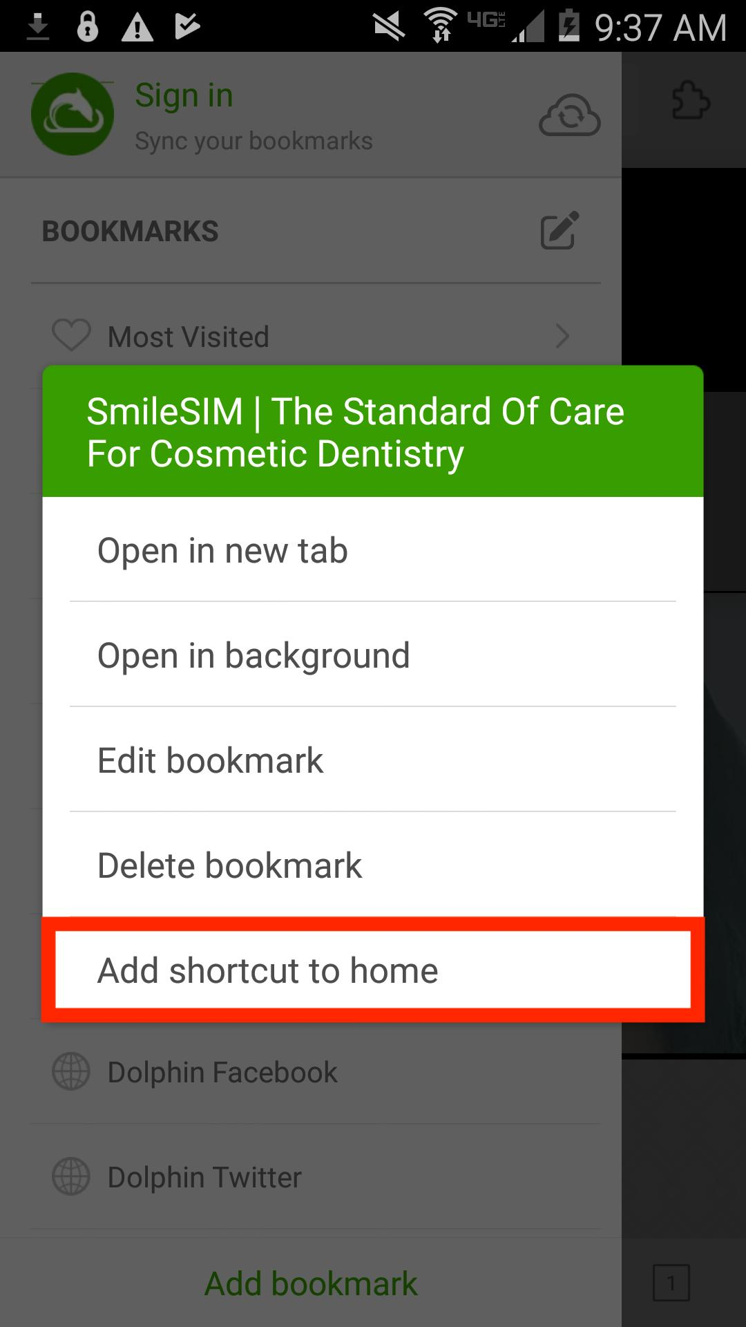 "Select the SmileSIM page in the menu. Hold it for a few seconds until another menu appears. Select ""Add shortcut to home""."