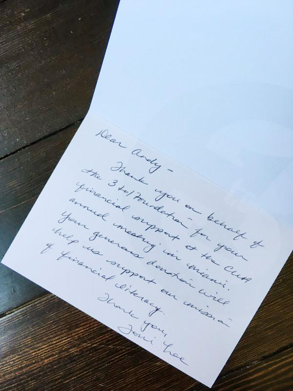 Thank you card from the Founders Gala.